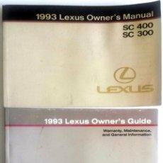 Coches y Motocicletas: MANUAL INSTRUCCIONES ORIGINAL LEXUS SC 400, SC 300 - AÑO 1993. IDIOMA: INGLÉS.. Lote 83471624