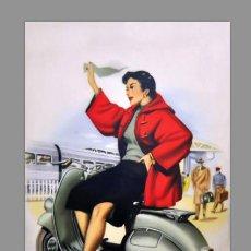Coches y Motocicletas: AZULEJO 40X25 CON PUBLICIDAD ANTIGUA DE VESPA VINTAGE. Lote 83914056