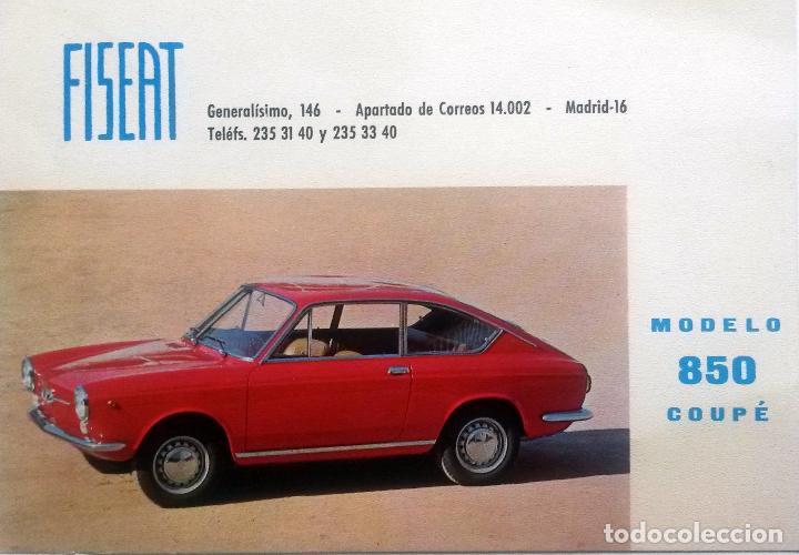 FICHA FINANCIERA FISEAT ORIGINAL. SEAT 850 COUPÉ. AÑO 1968. (Coches y Motocicletas Antiguas y Clásicas - Catálogos, Publicidad y Libros de mecánica)