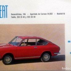 Coches y Motocicletas: FICHA FINANCIERA FISEAT ORIGINAL. SEAT 850 COUPÉ. AÑO 1968. . Lote 84045508