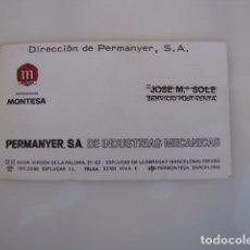 Coches y Motocicletas: TARJETA SERVICIO POSTVENTA MONTESA. PERMANYER S.A.. Lote 85772524