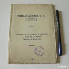 Coches y Motocicletas: CUADERNO PUBLICITARIO DE LAS ESTACIONES DE SERVICIO O GASOLINERAS AUTOESTACIONES S.A. MADRID 1945. Lote 86203700
