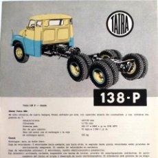 Coches y Motocicletas: CATÁLOGO ORIGINAL TATRA 138-P.. Lote 87823500