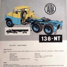 Coches y Motocicletas: CATÁLOGO ORIGINAL TATRA 138-NT.. Lote 87824464