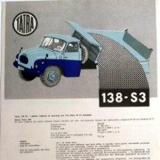 Coches y Motocicletas: CATÁLOGO ORIGINAL TATRA 138-S3.. Lote 87825024