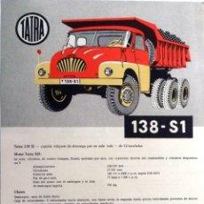 Coches y Motocicletas: CATÁLOGO ORIGINAL TATRA 138-S1.. Lote 87825532