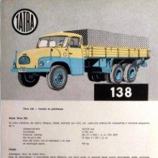 Coches y Motocicletas: CATÁLOGO ORIGINAL TATRA 138.. Lote 87826056