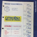 Coches y Motocicletas: GUIA DE TASACIONES - CITROEN PIEZAS DE ORIGEN - MAYO 1978. Lote 87831680