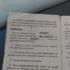 Coches y Motocicletas: CERTIFICADO DE CICLOMOTOR DUCATI . Lote 88120492