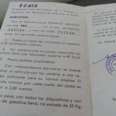 Coches y Motocicletas: PEUGEOT MOVESA CERTIFICADO. Lote 88123292