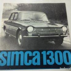 Coches y Motocicletas: SIMCA 1300 CATÁLOGO FOLLETO PUBLICITARIO, EN FRANCÉS AÑO 1963.. Lote 88782404