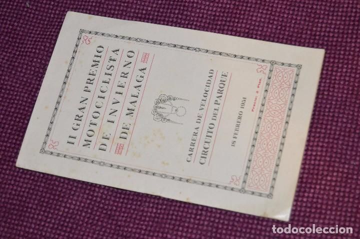 ANTIGUO PROGRAMA II GRAN PREMIO MOTOCICLISTA DE INVIERNO - MALAGA - 18 FEBRERO DE 1951 - HAZ OFERTA (Coches y Motocicletas Antiguas y Clásicas - Catálogos, Publicidad y Libros de mecánica)