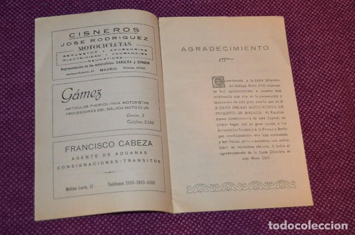Coches y Motocicletas: ANTIGUO PROGRAMA II GRAN PREMIO MOTOCICLISTA DE INVIERNO - MALAGA - 18 FEBRERO DE 1951 - HAZ OFERTA - Foto 3 - 89009788