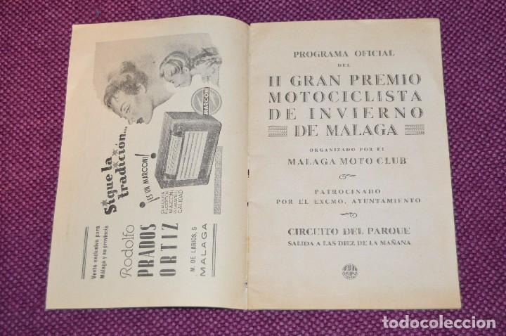 Coches y Motocicletas: ANTIGUO PROGRAMA II GRAN PREMIO MOTOCICLISTA DE INVIERNO - MALAGA - 18 FEBRERO DE 1951 - HAZ OFERTA - Foto 4 - 89009788