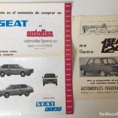 Coches y Motocicletas: LOTE DE 2 CATÁLOGOS DE SEAT (AUTOMOVILES FIGUERAS, S.A) OFICIAL. Lote 89214080