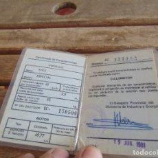 Coches y Motocicletas: CERTIFICADO DE CICLOMOTOR MARCA VALE MODELO ESPECIAL 1981 PLASTIFICADO. Lote 89862376
