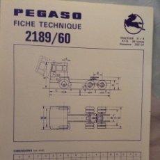 Coches y Motocicletas: FICHA CAMIÓN PEGASO 2189/60. Lote 90170138