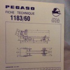 Coches y Motocicletas: FICHA CAMIÓN PEGASO 1183/60. Lote 90170514