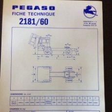Coches y Motocicletas: FICHA CAMIÓN PEGASO 2181/60. Lote 90175002