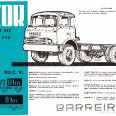 Coches y Motocicletas: CATALOGO PUBLICIDAD CAMION BARREIROS AZOR CVB 242 CB 246 EN CASTELLANO AÑOS 60. Lote 129459679