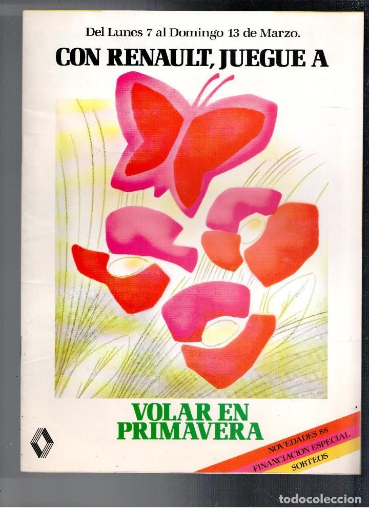 FOLLETO PUBLICIDAD CON RENAULT, JUEGUE A VOLAR, 1988 (Coches y Motocicletas Antiguas y Clásicas - Catálogos, Publicidad y Libros de mecánica)