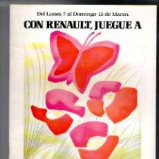 Coches y Motocicletas: FOLLETO PUBLICIDAD CON RENAULT, JUEGUE A VOLAR, 1988. Lote 91449925