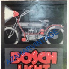 Coches y Motocicletas: ANTIGUO CARTEL LAMINA PUBLICITARIA, BOSCH LIGHT, BUJIAS, EN ALEMAN, 30X43 CMS. Lote 91789445