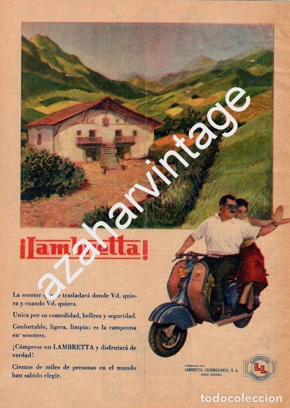 PUBLICIDAD MOTOS LAMBRETTA AÑOS 50 (Coches y Motocicletas Antiguas y Clásicas - Catálogos, Publicidad y Libros de mecánica)