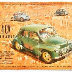 Coches y Motocicletas: CATÁLOGO DESPLEGABLE PUBLICIDAD RENAULT 4 CV (4CV) AÑOS 50 EN FRANCÉS. Lote 94240420