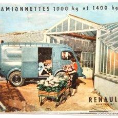 Coches y Motocicletas: CATÁLOGO PUBLICIDAD CAMIONETAS FURGONETAS DE 1000 Y 1400 KG. RENAULT. AÑOS 50 EN FRANCÉS. Lote 94241815