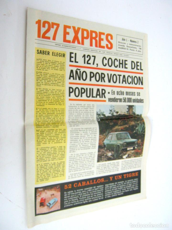 ESPECIAL EXPRES SEAT 127 AÑO 1972 - GRAN POSTER GIGANTE - LA GAMA SEAT 1973 (Coches y Motocicletas Antiguas y Clásicas - Catálogos, Publicidad y Libros de mecánica)
