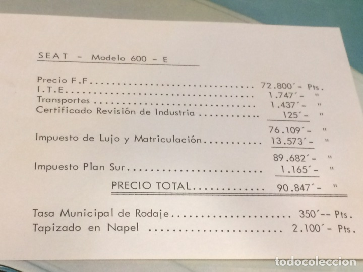 Coches y Motocicletas: Póster y factura o presupuesto de Seat 600 - Foto 4 - 96317882