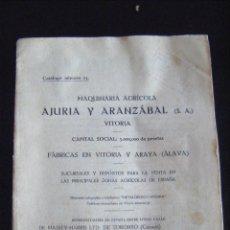 Coches y Motocicletas: JML CATALOGO MAQUINARIA AGRÍCOLA AJURIA Y ARANZABAL, VITORIA Y ARAYA. Nº 23, AÑO 1926. 36 PÁGINAS. . Lote 96549859