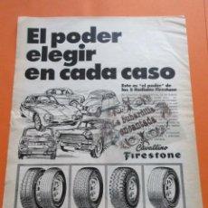 Coches y Motocicletas: PUBLICIDAD 1973 - COLECCION COCHES - FIRESTONE CAVALLINO 5 RADIALES SEAT 1500 600 CITROEN . Lote 97159051