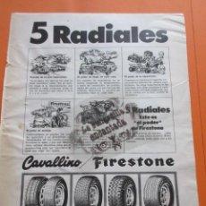 Coches y Motocicletas: PUBLICIDAD 1973 - COLECCION COCHES - FIRESTONE CAVALLINO 5 RADIALES SEAT 1500 600 CITROEN . Lote 97159075