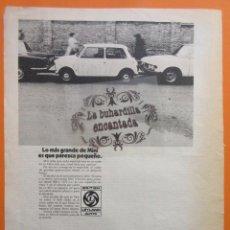 Coches y Motocicletas: PUBLICIDAD 1972 - COLECCION COCHES - MINI 850 1275 BRITISH LEYLAND AUTHI. Lote 97202999