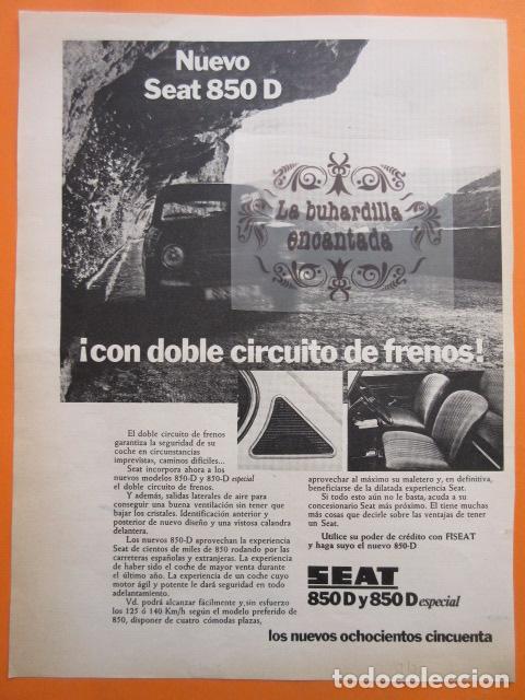 PUBLICIDAD 1972 - COLECCION COCHES - SEAT 850 Y 850 D ESPECIAL (Coches y Motocicletas Antiguas y Clásicas - Catálogos, Publicidad y Libros de mecánica)