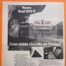 Coches y Motocicletas: PUBLICIDAD 1972 - COLECCION COCHES - SEAT 850 Y 850 D ESPECIAL. Lote 97203843