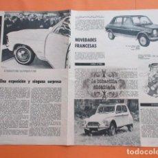 Coches y Motocicletas: ARTICULO 1967 - SALON PARIS SIMCA 1100 CITROEN DYANE - 2 PAGINAS. Lote 97235727