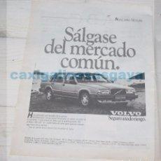 Coches y Motocicletas: PUBLICIDAD - ANUNCIO - VOLVO 740 TURBO - AÑO 1986. Lote 97246479