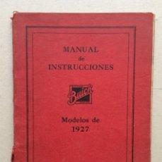 Coches y Motocicletas: BUICK , MANUAL DE INSTRUCCIONES MODELOS BUICK (1927). Lote 97688343