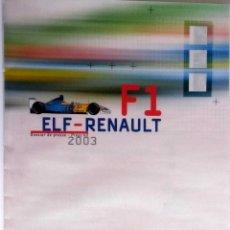 Coches y Motocicletas: DOSSIER PRENSA ELF-RENAULT F1 + CD. ORIGINAL.. Lote 97759256