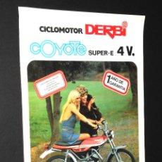 Coches y Motocicletas: FOLLETO - PUBLICIDAD - CICLOMOTOR DERBI - COYOTE SUPER E 4V - AÑO 1974. Lote 97780867