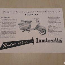 Coches y Motocicletas: SCOOTER LAMBRETTA. PUBLICIDAD ORIGINAL. AÑOS 50/60.. Lote 97842599
