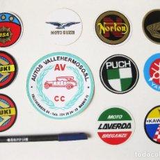 Coches y Motocicletas: 11 PEGATINAS DE LOS AÑOS 80 DE MOTOCICLETAS Y TALLER. PUCH LAVERDA NORTON HONDA SUZUKI GUZZI BSA. Lote 98548627
