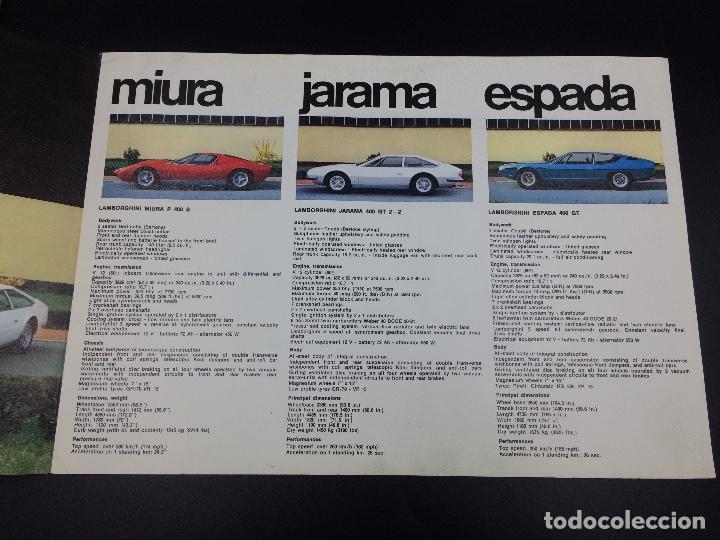 Coches y Motocicletas: Folleto publicitario original Lamborghini Miura, Espada, Jarama - Foto 3 - 98639571