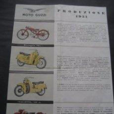 Coches y Motocicletas: HOJA CATALOGO MOTOS. MOTO GUZZI 1951. GALLETTO, AIRONE, ASTORE, FALCONE. Lote 99306551