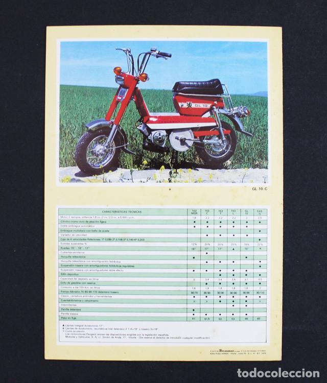 Coches y Motocicletas: CATALOGO FOLLETO DIPTICO CICLOMOTORES PEUGEOT 21 X 15 CM (DESPLEGADO 21 X 30 CM) 1979 - Foto 3 - 99815943