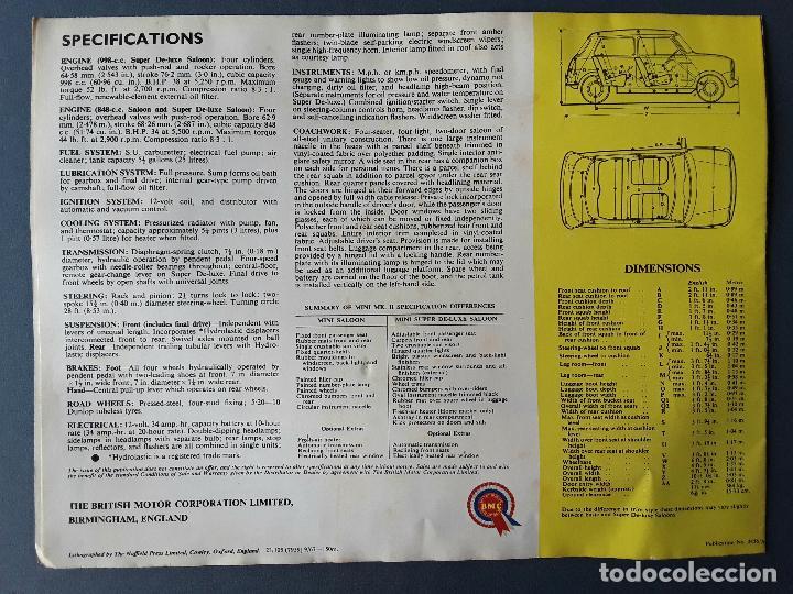 Coches y Motocicletas: poster publicidad morris mini mkII, british motor corporation ltd 1967 - Foto 2 - 102615083