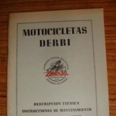Coches y Motocicletas: (TC-47) MANUAL DE DESCRIPCION TECNICA DERBI MODELO 125 CC SUPER. Lote 102640283